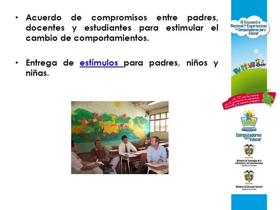 Acuerdo de compromisos entre padres, docentes y estudiantes para estimular el cambio de comportamientos.