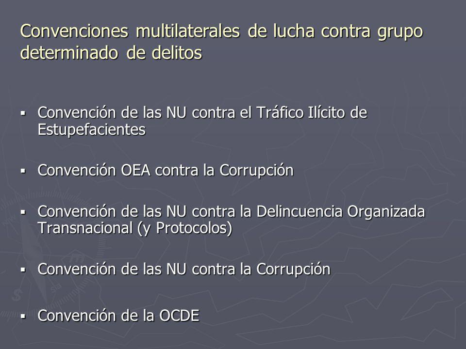 Convenciones multilaterales de lucha contra grupo determinado de delitos