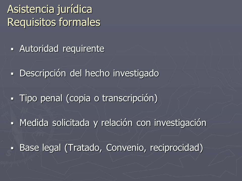 Asistencia jurídica Requisitos formales