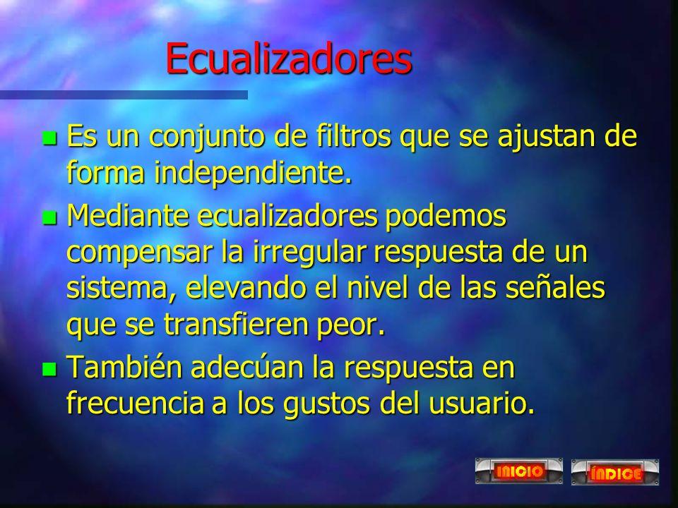 Ecualizadores Es un conjunto de filtros que se ajustan de forma independiente.