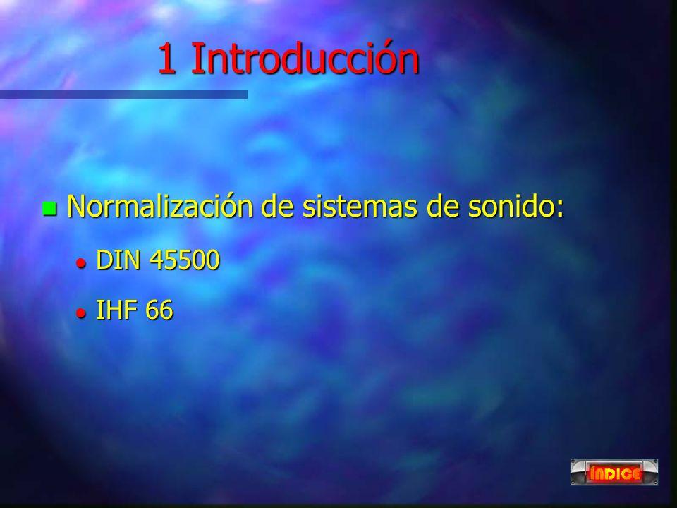 1 Introducción Normalización de sistemas de sonido: DIN 45500 IHF 66