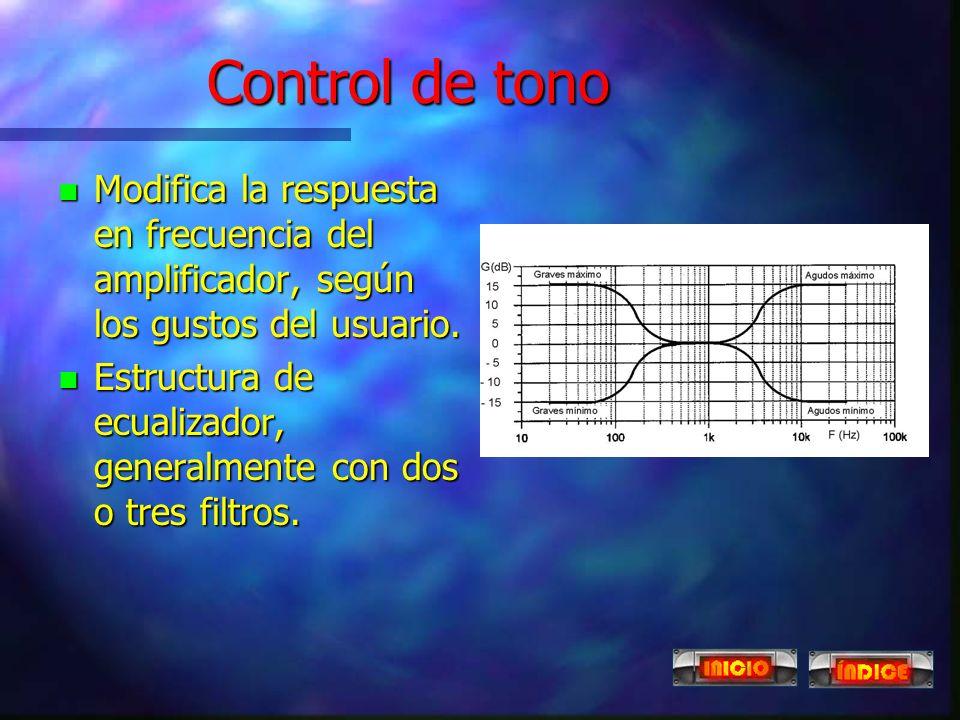 Control de tono Modifica la respuesta en frecuencia del amplificador, según los gustos del usuario.