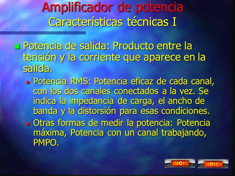 Amplificador de potencia Características técnicas I