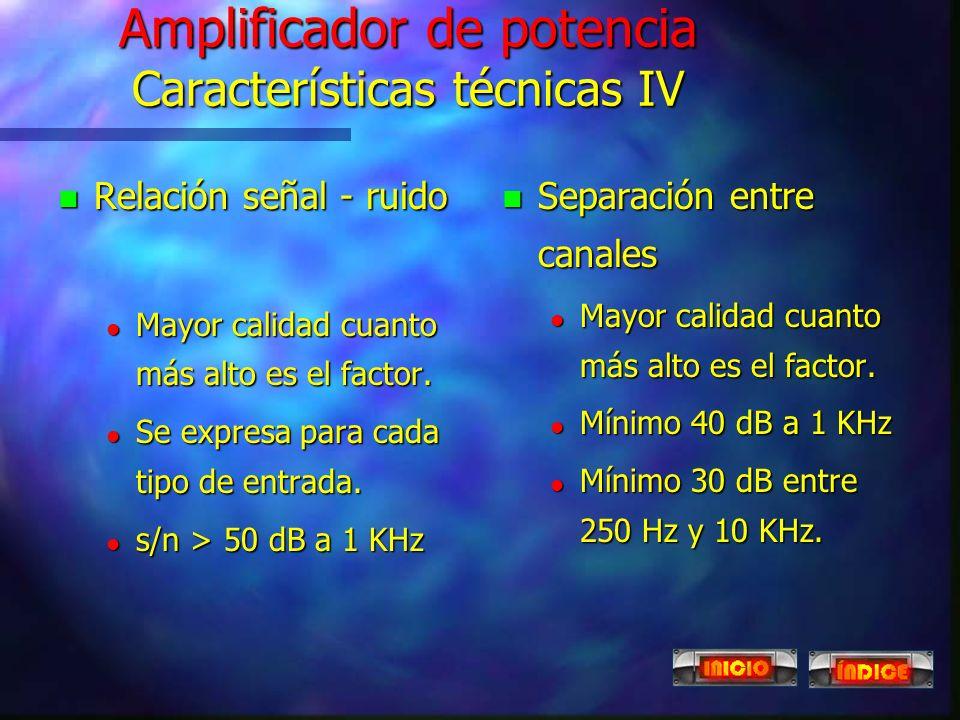 Amplificador de potencia Características técnicas IV