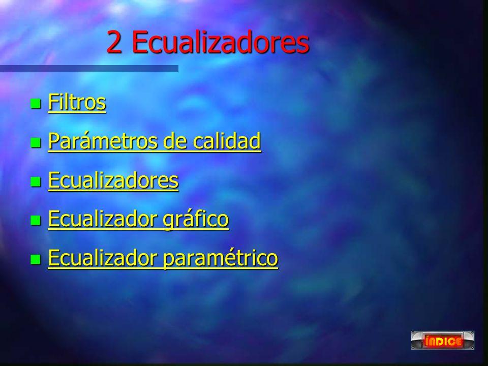 2 Ecualizadores Filtros Parámetros de calidad Ecualizadores