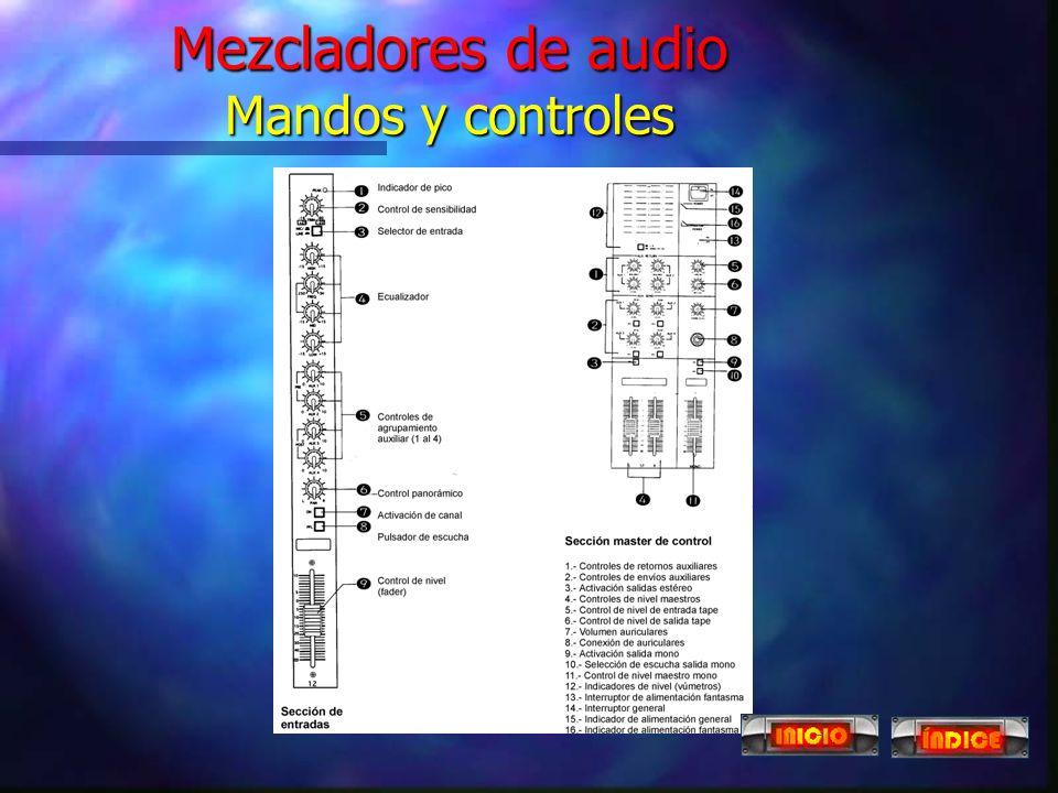 Mezcladores de audio Mandos y controles
