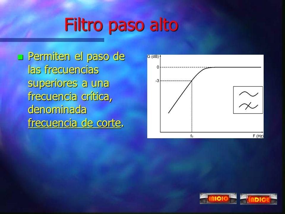 Filtro paso alto Permiten el paso de las frecuencias superiores a una frecuencia crítica, denominada frecuencia de corte.