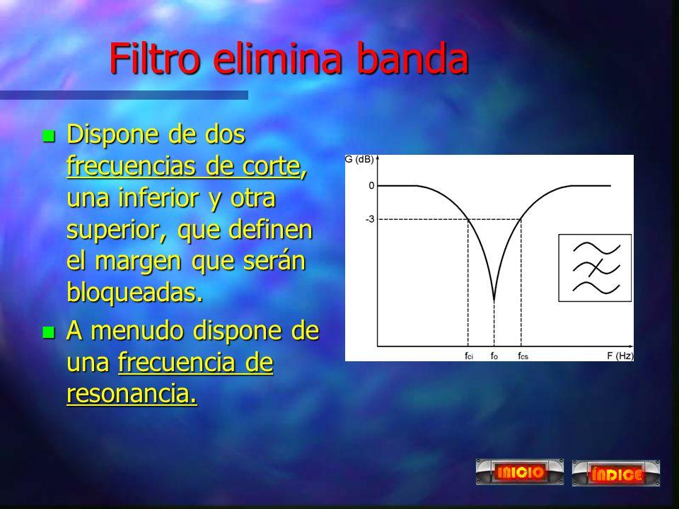 Filtro elimina banda Dispone de dos frecuencias de corte, una inferior y otra superior, que definen el margen que serán bloqueadas.