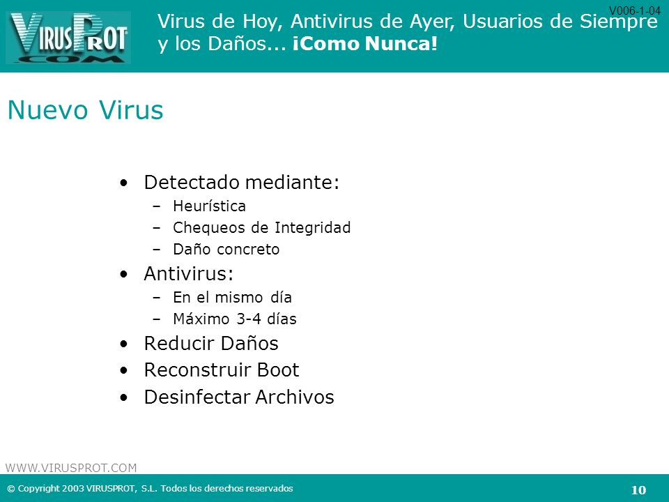 Nuevo Virus Detectado mediante: Antivirus: Reducir Daños