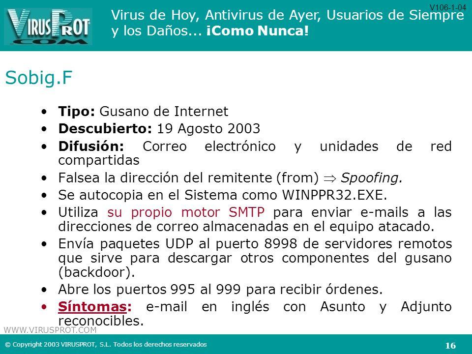 Sobig.F Tipo: Gusano de Internet Descubierto: 19 Agosto 2003
