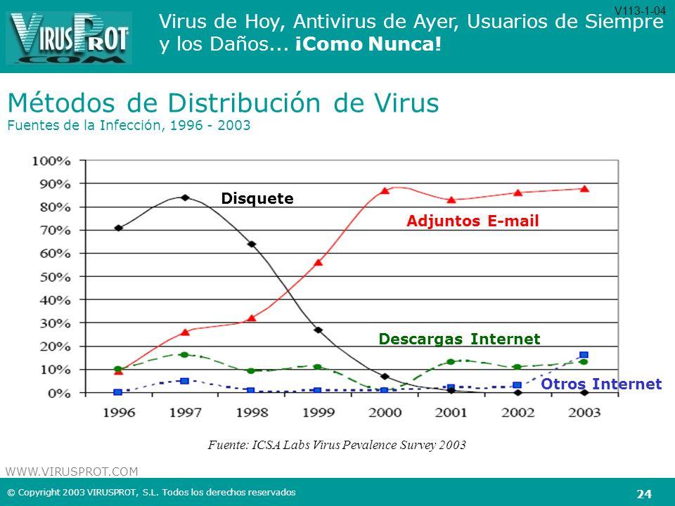 Métodos de Distribución de Virus Fuentes de la Infección, 1996 - 2003