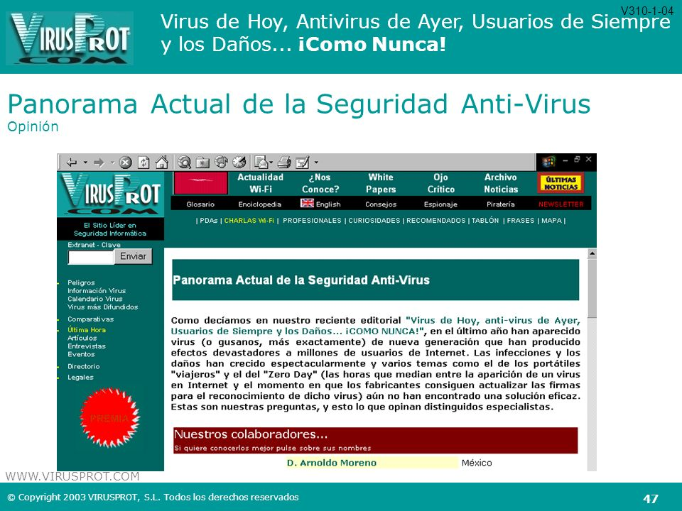 Panorama Actual de la Seguridad Anti-Virus Opinión
