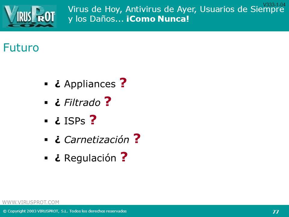 Futuro ¿ Appliances ¿ Filtrado ¿ ISPs ¿ Carnetización
