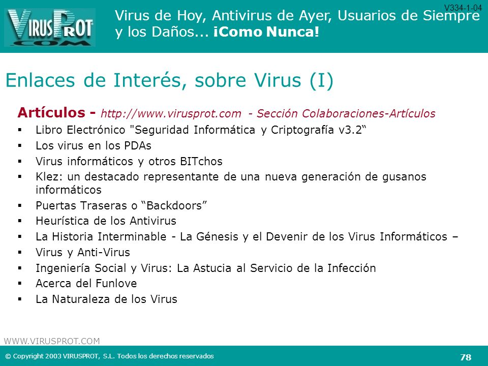 Enlaces de Interés, sobre Virus (I)