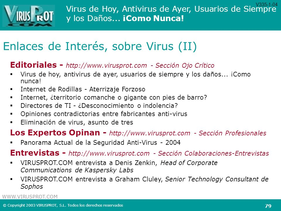 Enlaces de Interés, sobre Virus (II)