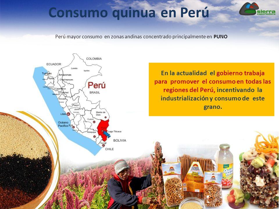 Consumo quinua en Perú Perú mayor consumo en zonas andinas concentrado principalmente en PUNO.