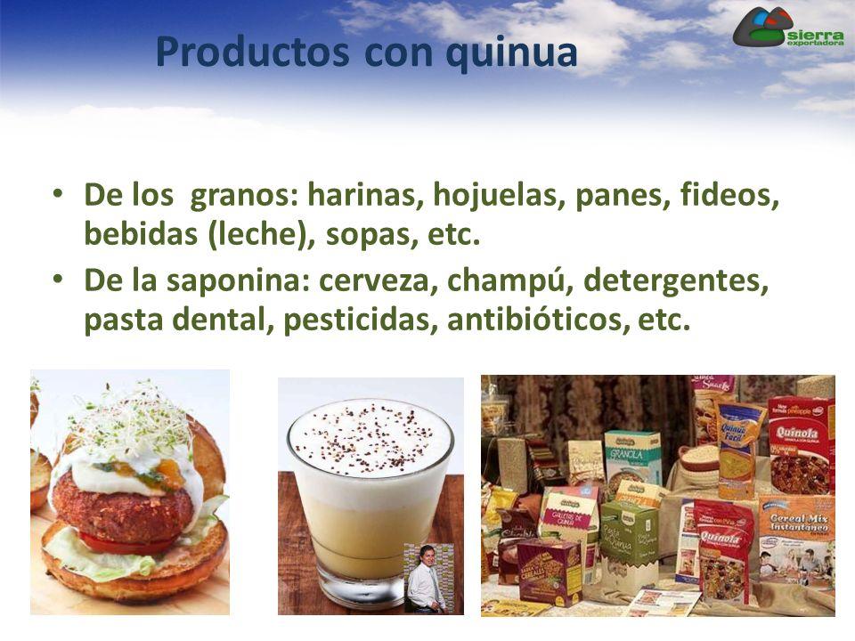 Productos con quinua De los granos: harinas, hojuelas, panes, fideos, bebidas (leche), sopas, etc.