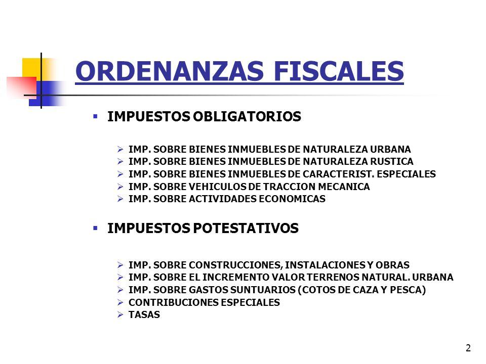 ORDENANZAS FISCALES IMPUESTOS OBLIGATORIOS IMPUESTOS POTESTATIVOS