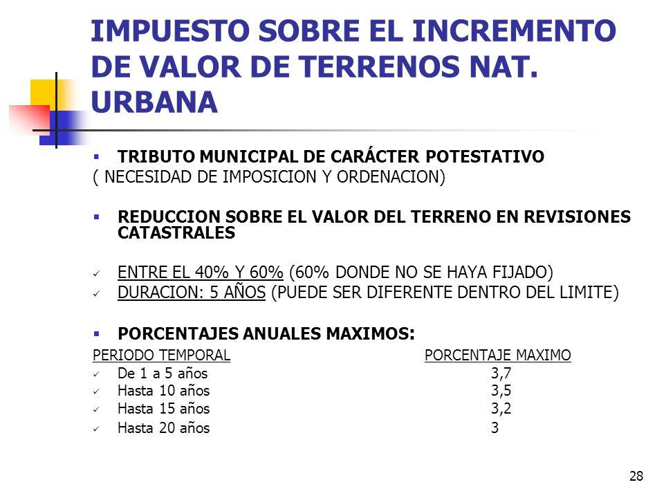 IMPUESTO SOBRE EL INCREMENTO DE VALOR DE TERRENOS NAT. URBANA