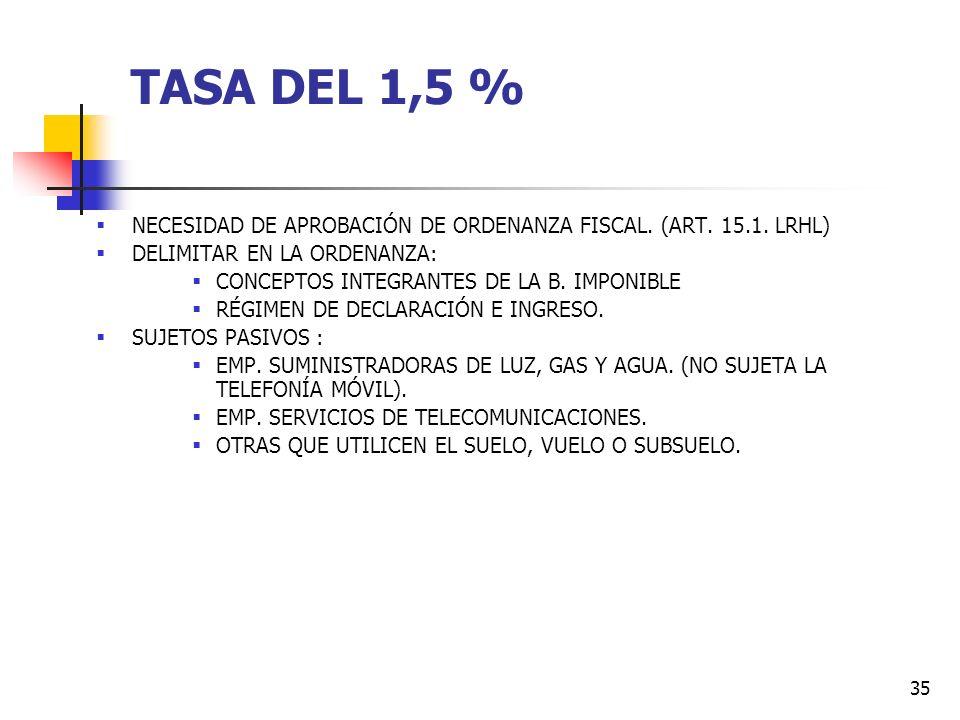 TASA DEL 1,5 % NECESIDAD DE APROBACIÓN DE ORDENANZA FISCAL. (ART. 15.1. LRHL) DELIMITAR EN LA ORDENANZA: