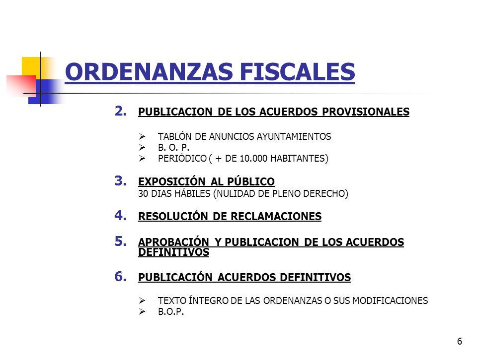 ORDENANZAS FISCALES PUBLICACION DE LOS ACUERDOS PROVISIONALES