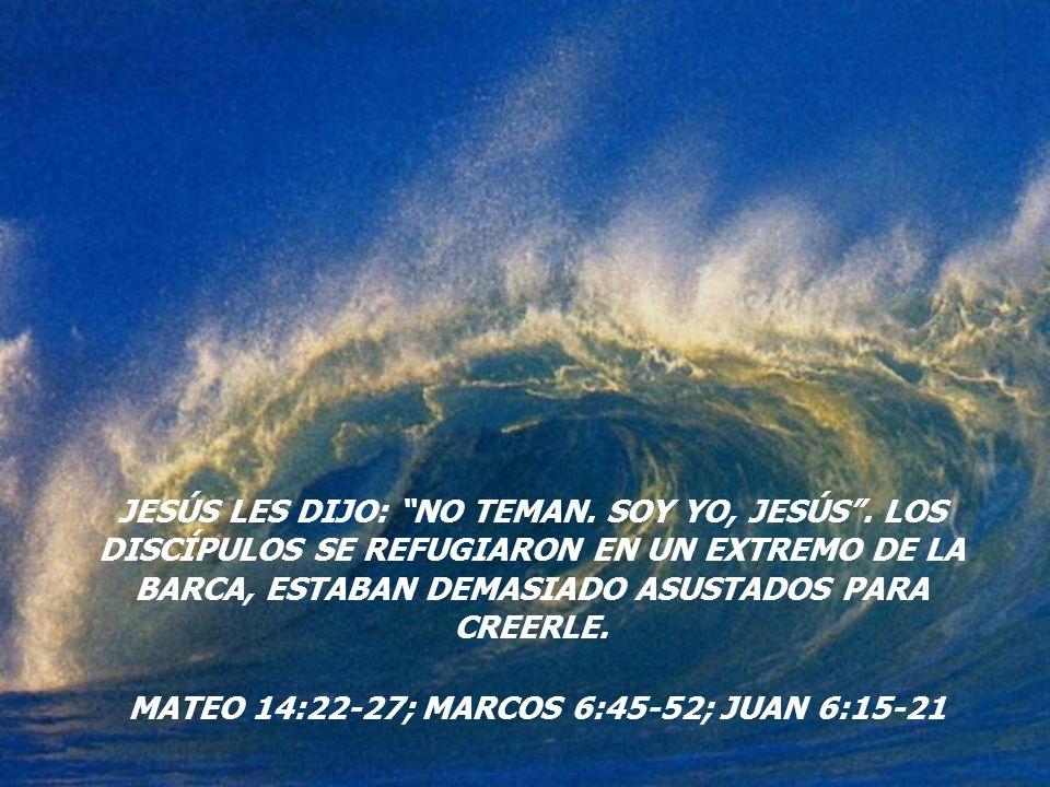 MATEO 14:22-27; MARCOS 6:45-52; JUAN 6:15-21