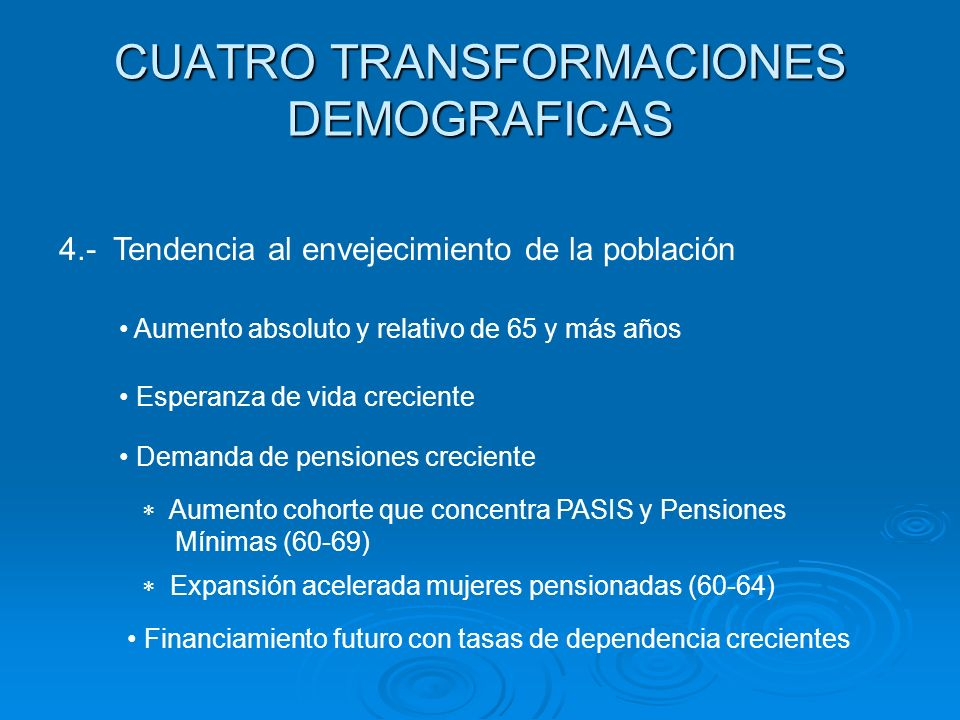 CUATRO TRANSFORMACIONES DEMOGRAFICAS