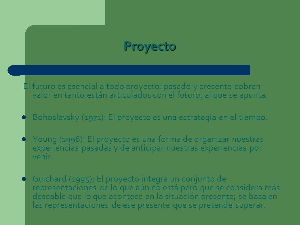 Proyecto El futuro es esencial a todo proyecto: pasado y presente cobran valor en tanto están articulados con el futuro, al que se apunta.