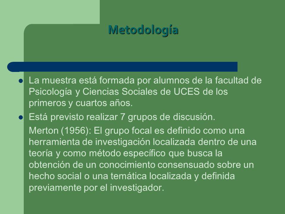 Metodología La muestra está formada por alumnos de la facultad de Psicología y Ciencias Sociales de UCES de los primeros y cuartos años.