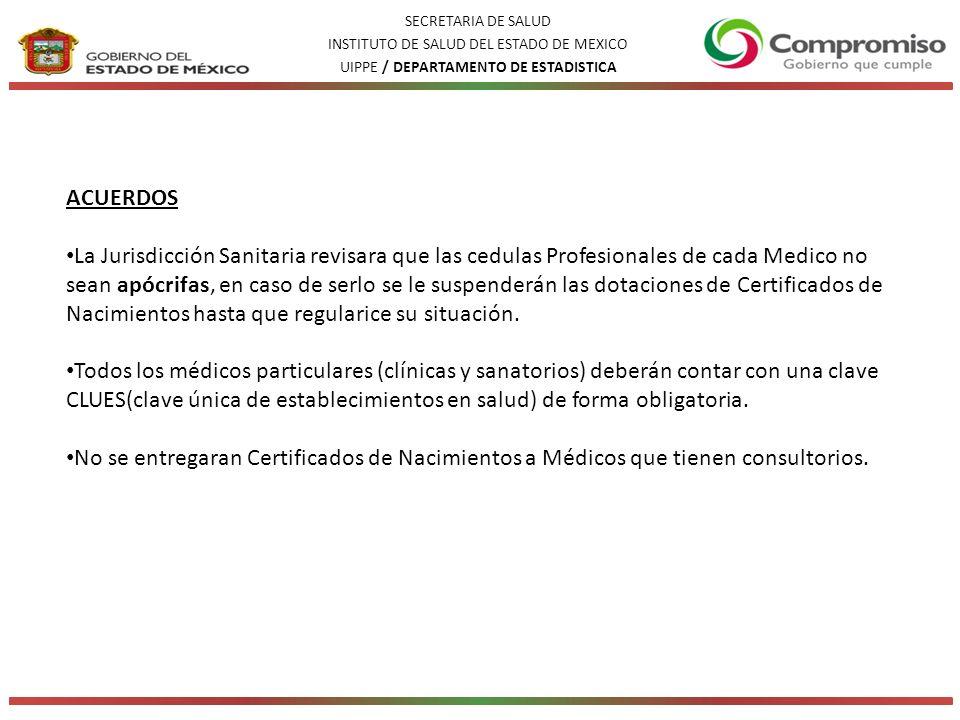 SECRETARIA DE SALUD INSTITUTO DE SALUD DEL ESTADO DE MEXICO. UIPPE / DEPARTAMENTO DE ESTADISTICA. ACUERDOS.