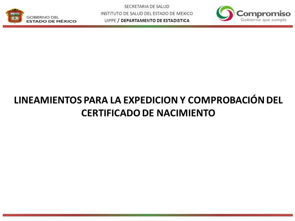 SECRETARIA DE SALUD INSTITUTO DE SALUD DEL ESTADO DE MEXICO. UIPPE / DEPARTAMENTO DE ESTADISTICA.