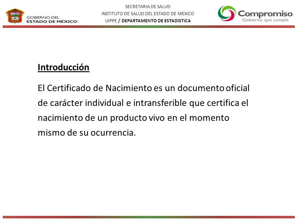 SECRETARIA DE SALUD INSTITUTO DE SALUD DEL ESTADO DE MEXICO. UIPPE / DEPARTAMENTO DE ESTADISTICA. Introducción.