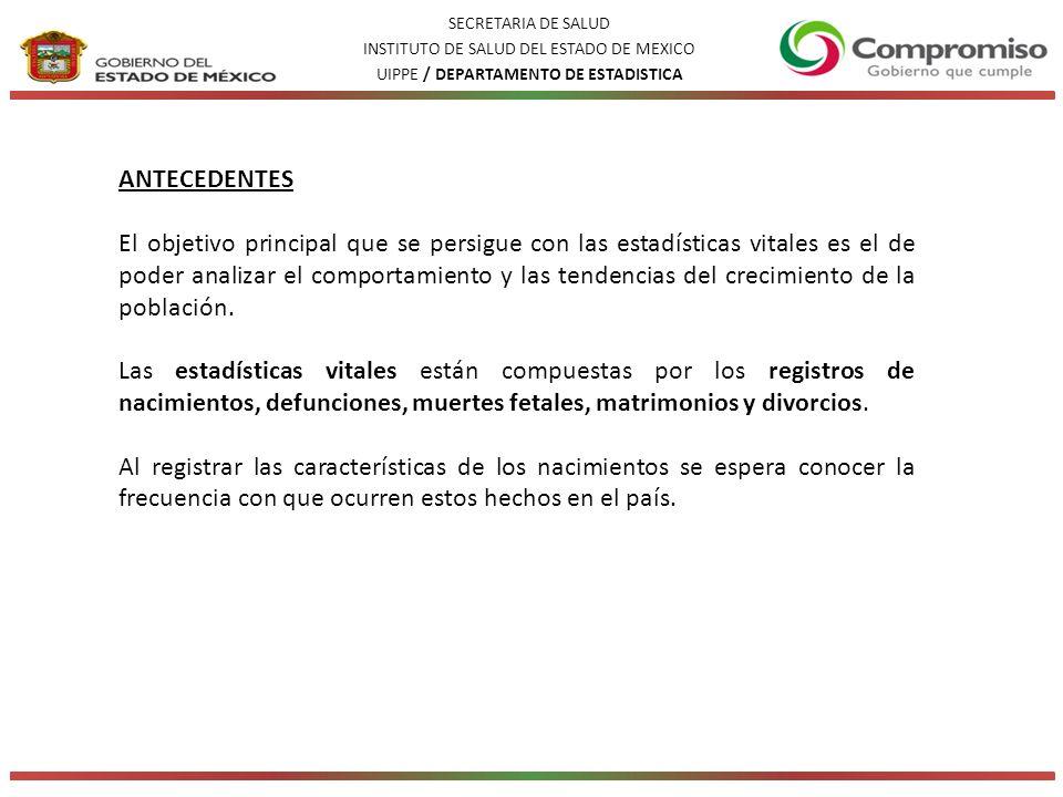SECRETARIA DE SALUD INSTITUTO DE SALUD DEL ESTADO DE MEXICO. UIPPE / DEPARTAMENTO DE ESTADISTICA. ANTECEDENTES.