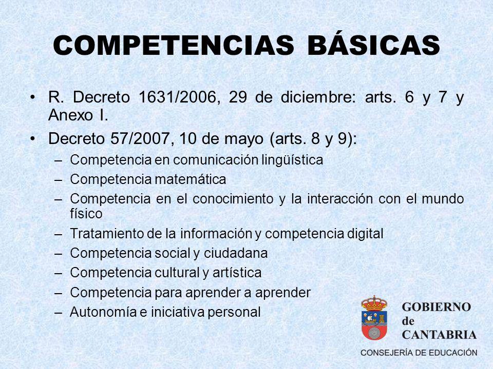 COMPETENCIAS BÁSICAS R. Decreto 1631/2006, 29 de diciembre: arts. 6 y 7 y Anexo I. Decreto 57/2007, 10 de mayo (arts. 8 y 9):