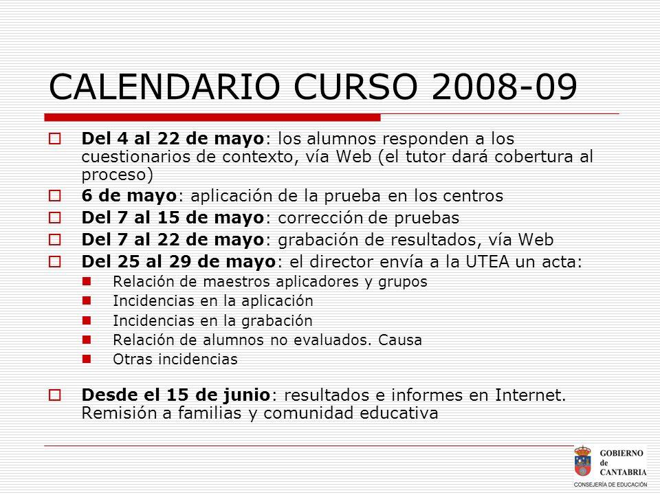 CALENDARIO CURSO 2008-09 Del 4 al 22 de mayo: los alumnos responden a los cuestionarios de contexto, vía Web (el tutor dará cobertura al proceso)