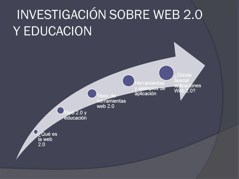 INVESTIGACIÓN SOBRE WEB 2.0 Y EDUCACION
