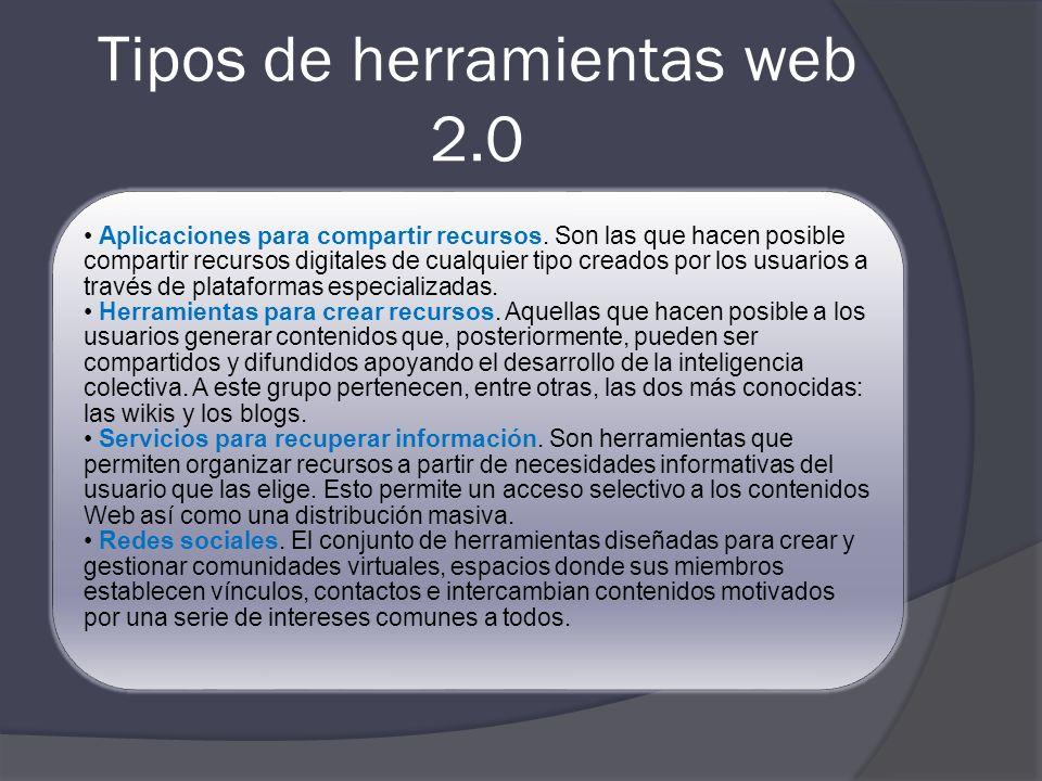 Tipos de herramientas web 2.0