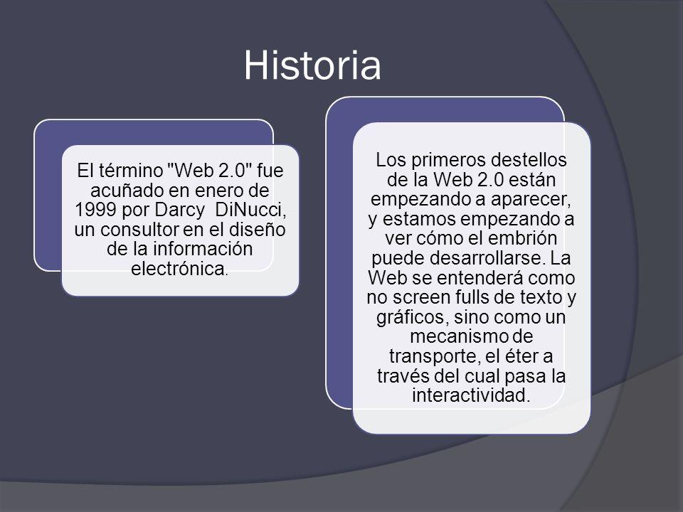 Historia El término Web 2.0 fue acuñado en enero de 1999 por Darcy DiNucci, un consultor en el diseño de la información electrónica.