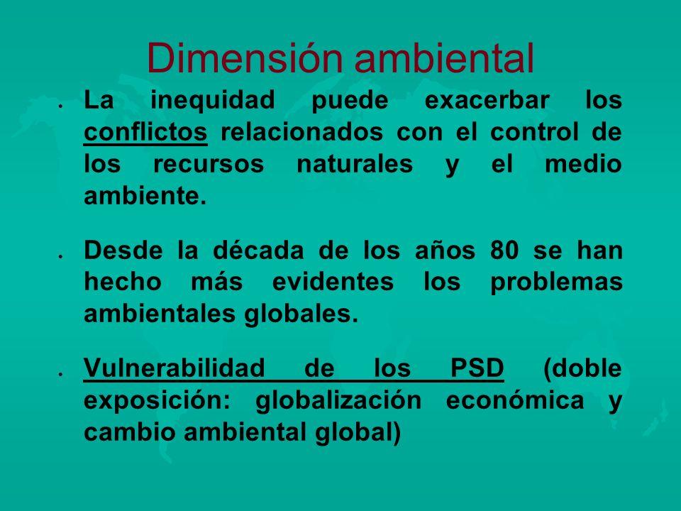 Dimensión ambiental La inequidad puede exacerbar los conflictos relacionados con el control de los recursos naturales y el medio ambiente.