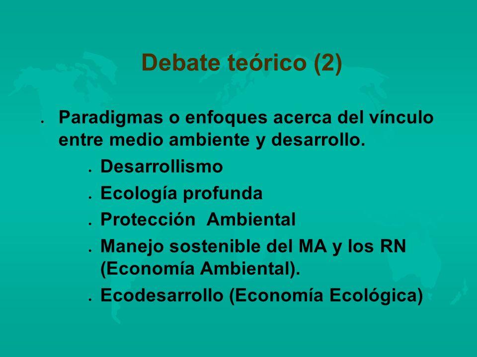 Debate teórico (2) Paradigmas o enfoques acerca del vínculo entre medio ambiente y desarrollo. Desarrollismo.