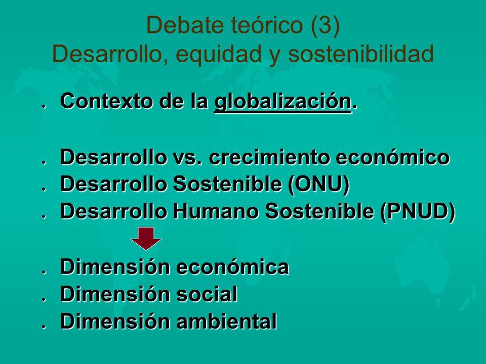 Debate teórico (3) Desarrollo, equidad y sostenibilidad