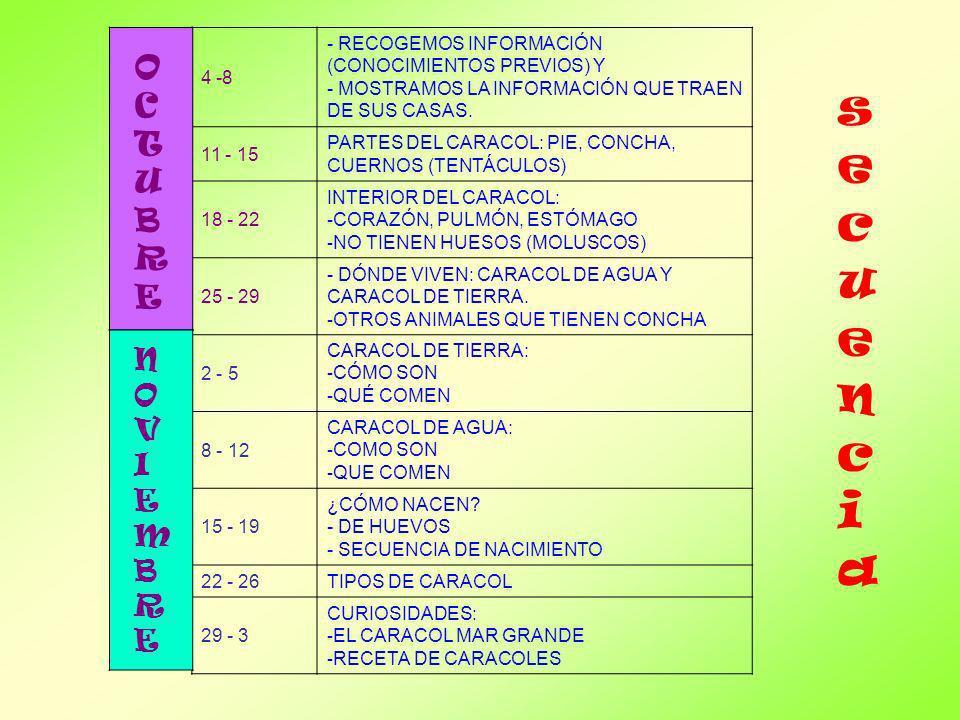 secuencia OCTUBRE NOVIEMBRE 4 -8