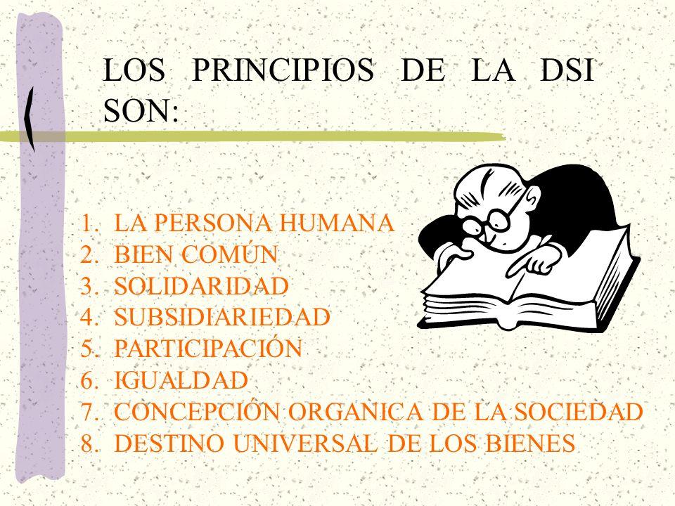 LOS PRINCIPIOS DE LA DSI SON:
