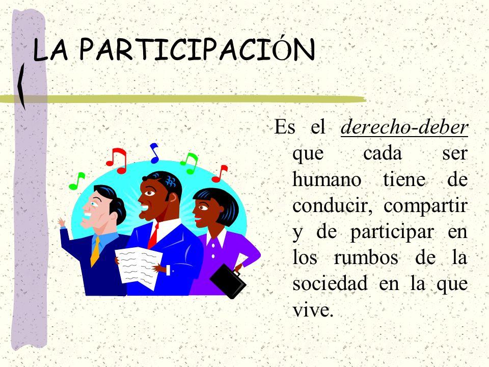LA PARTICIPACIÓN Es el derecho-deber que cada ser humano tiene de conducir, compartir y de participar en los rumbos de la sociedad en la que vive.