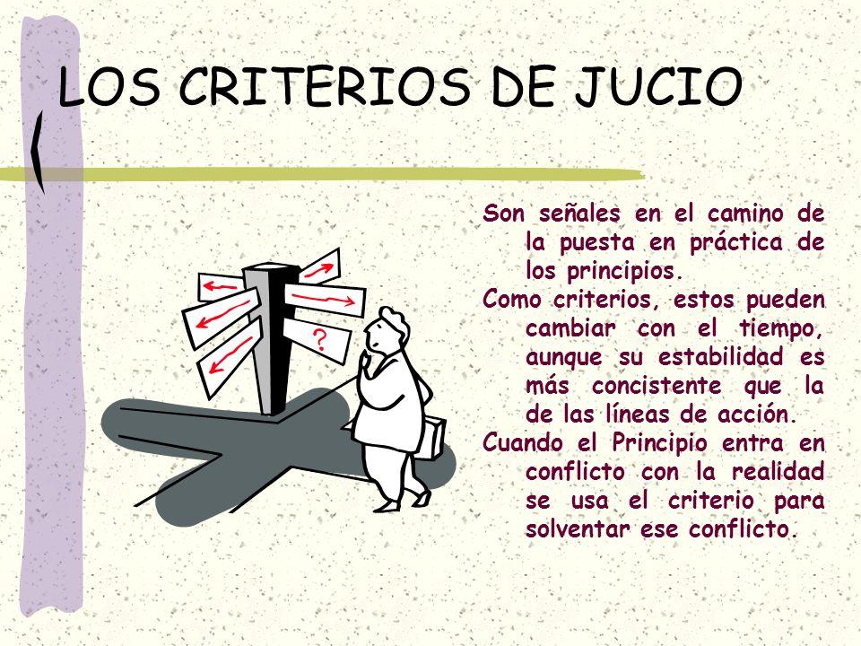 LOS CRITERIOS DE JUCIO Son señales en el camino de la puesta en práctica de los principios.