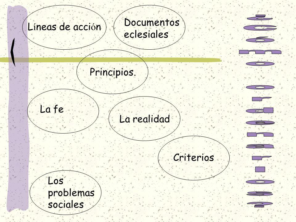 ¿Cómo ordenarlos Documentos eclesiales Líneas de acción Principios.