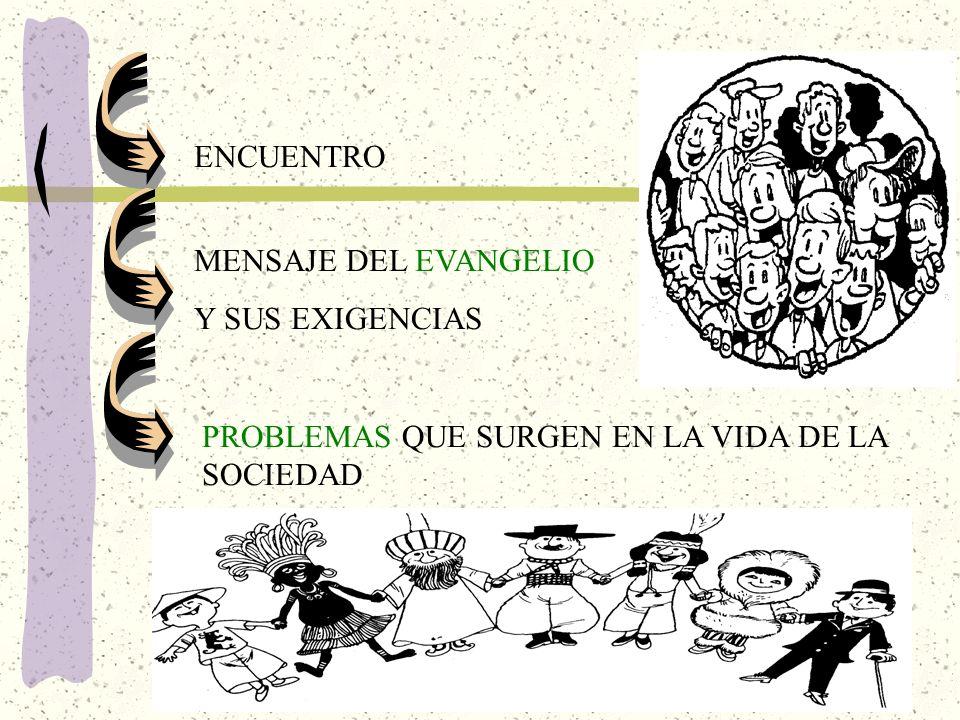 ENCUENTRO MENSAJE DEL EVANGELIO Y SUS EXIGENCIAS PROBLEMAS QUE SURGEN EN LA VIDA DE LA SOCIEDAD