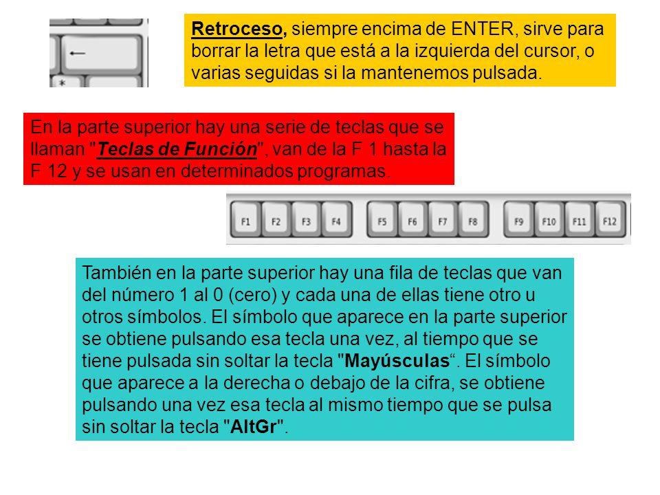 Retroceso, siempre encima de ENTER, sirve para borrar la letra que está a la izquierda del cursor, o varias seguidas si la mantenemos pulsada.