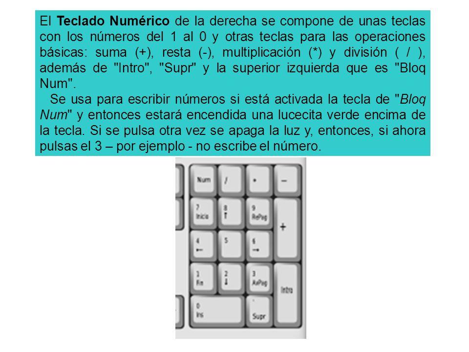 El Teclado Numérico de la derecha se compone de unas teclas con los números del 1 al 0 y otras teclas para las operaciones básicas: suma (+), resta (-), multiplicación (*) y división ( / ), además de Intro , Supr y la superior izquierda que es Bloq Num .