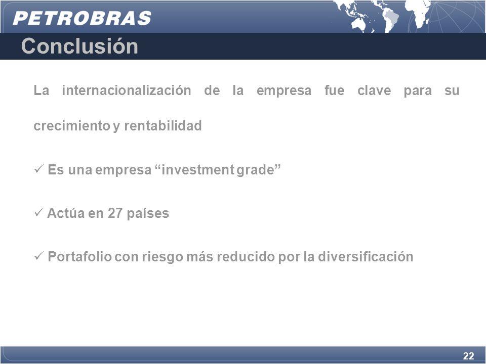 Conclusión La internacionalización de la empresa fue clave para su crecimiento y rentabilidad. Es una empresa investment grade